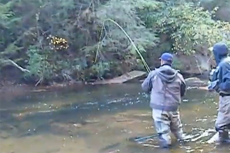 Brian Hill's first fly fishing catch