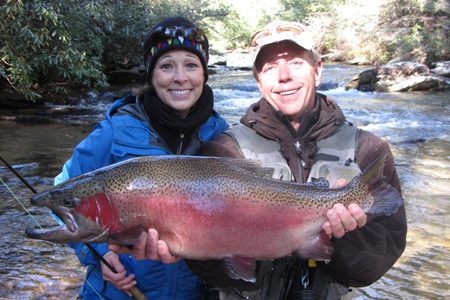 Elizabeth had to have john rice hold her monster fish for Blackhawk fly fishing